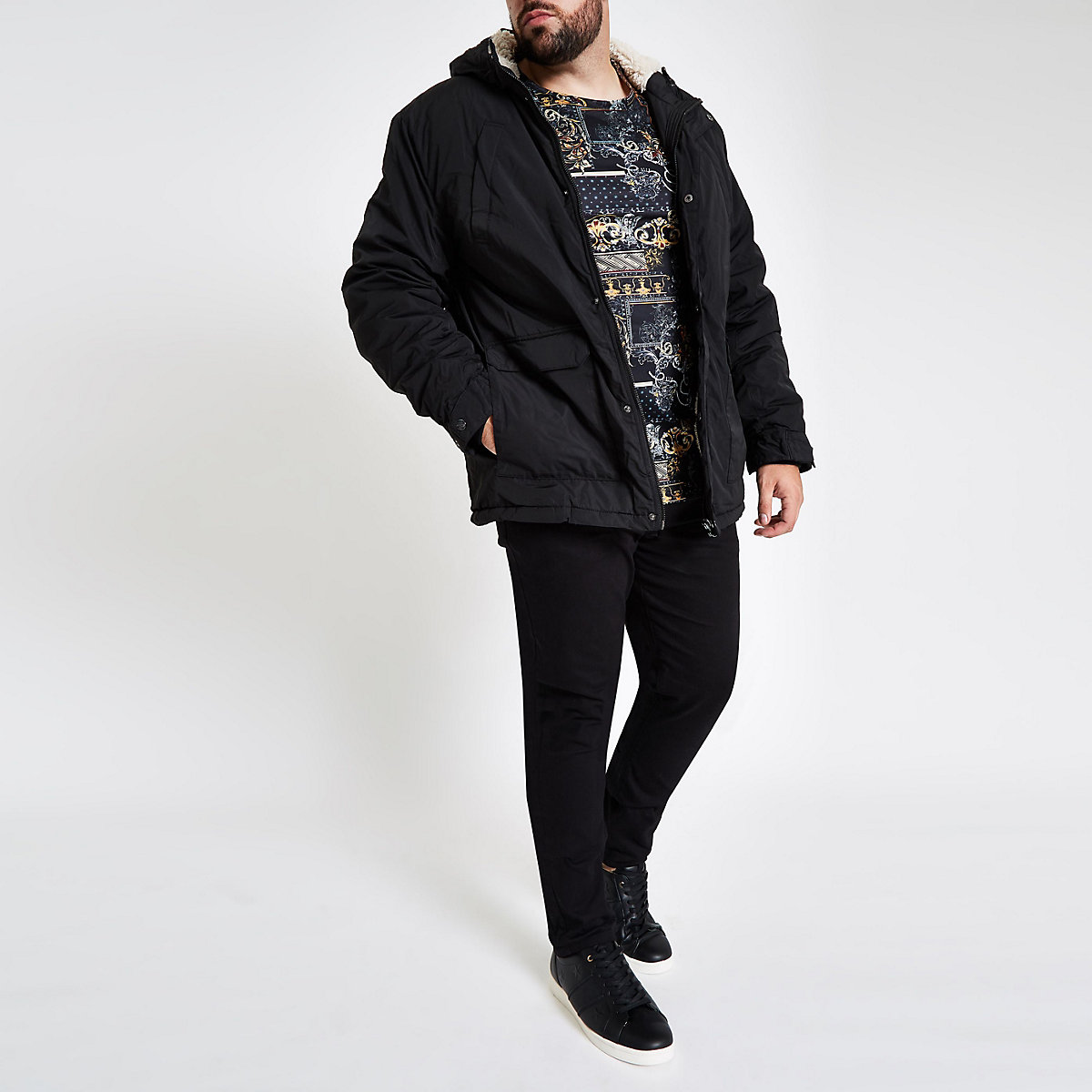 Big and Tall black hooded fleece lined coat