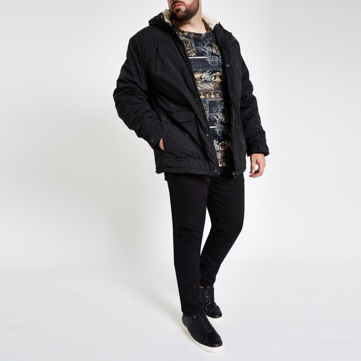 Big & Tall black hooded borg lined coat