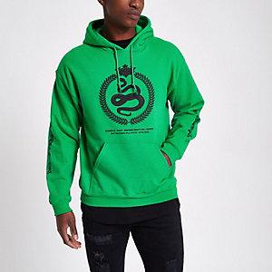 Sweat à capuche vert avec broderie style récif