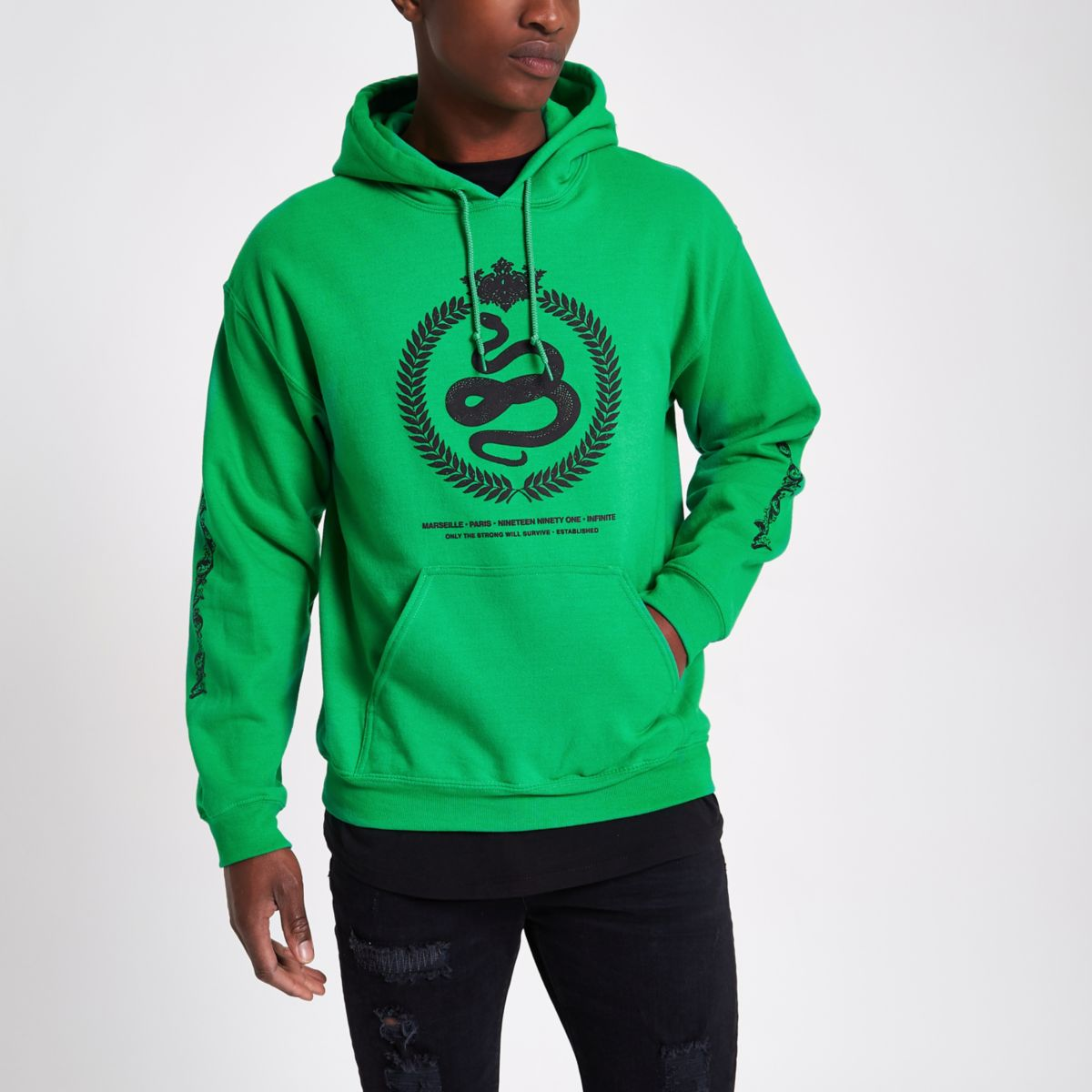 Green reef embroidered hoodie