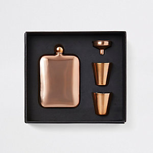 Brown copper hip flask set