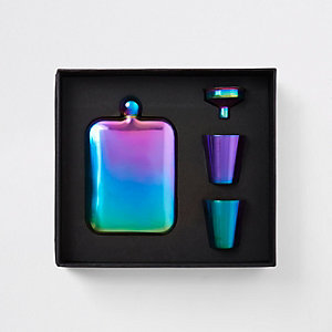 Grey iridescent copper hip flask set