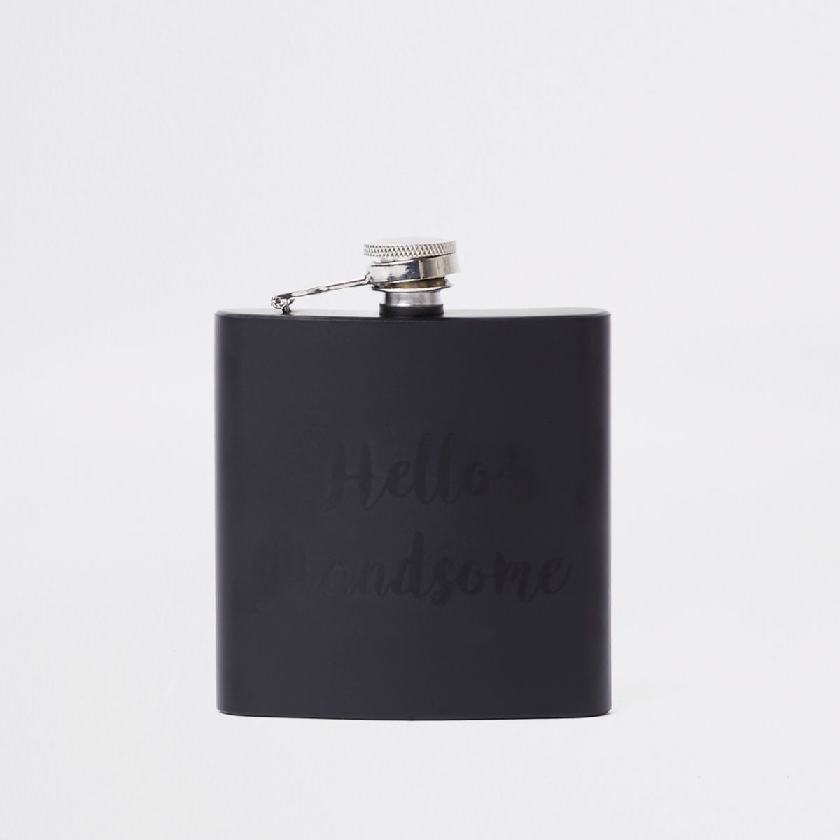 Black 'hello handsome' hip flask