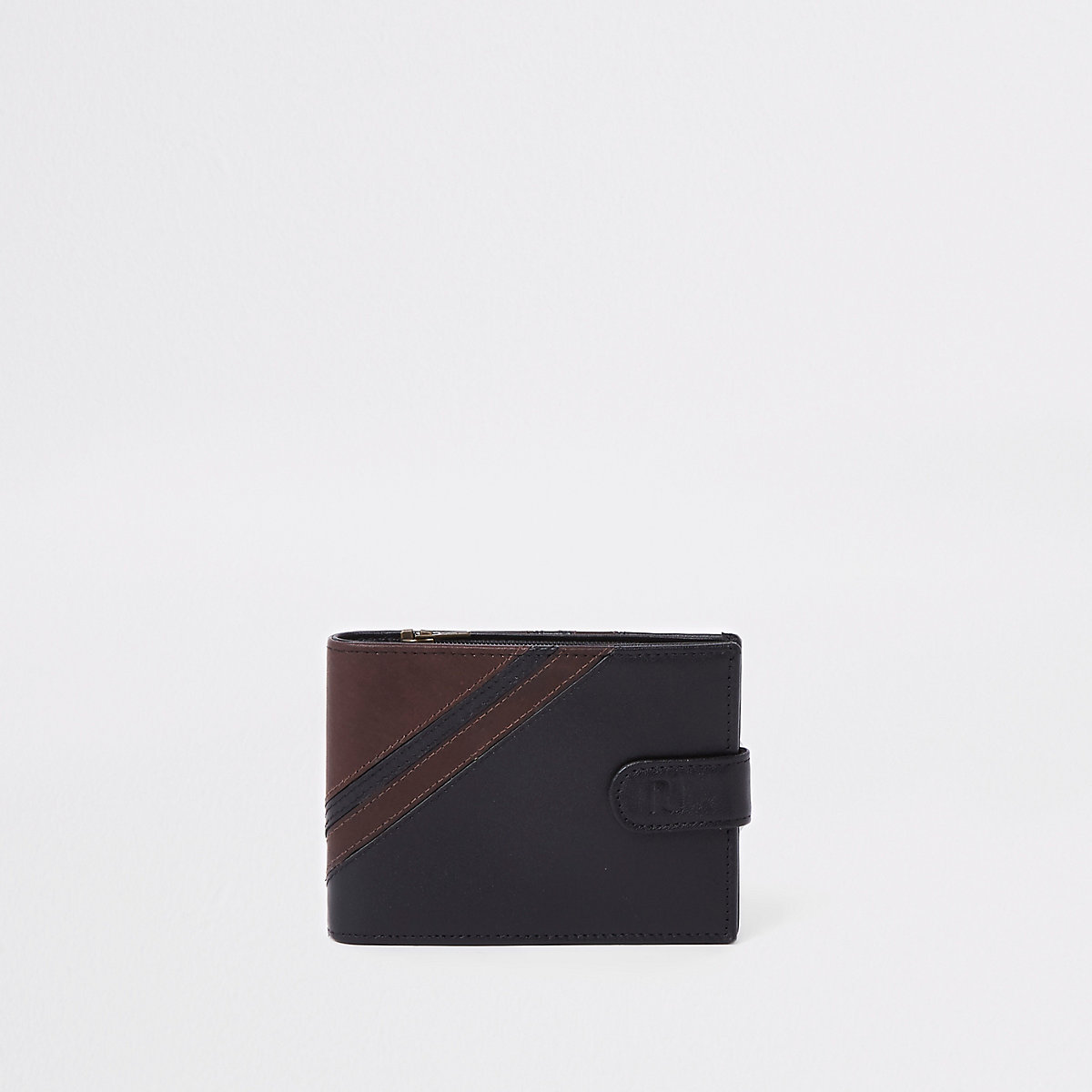 Black leather stripe wallet