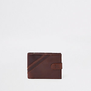 Brown leather stripe wallet