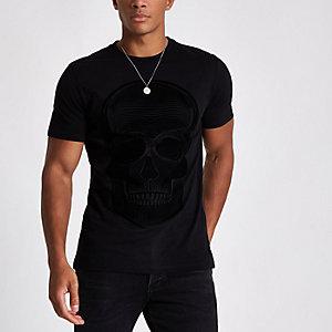 T-shirt slim imprimé tête de mort floqué noir