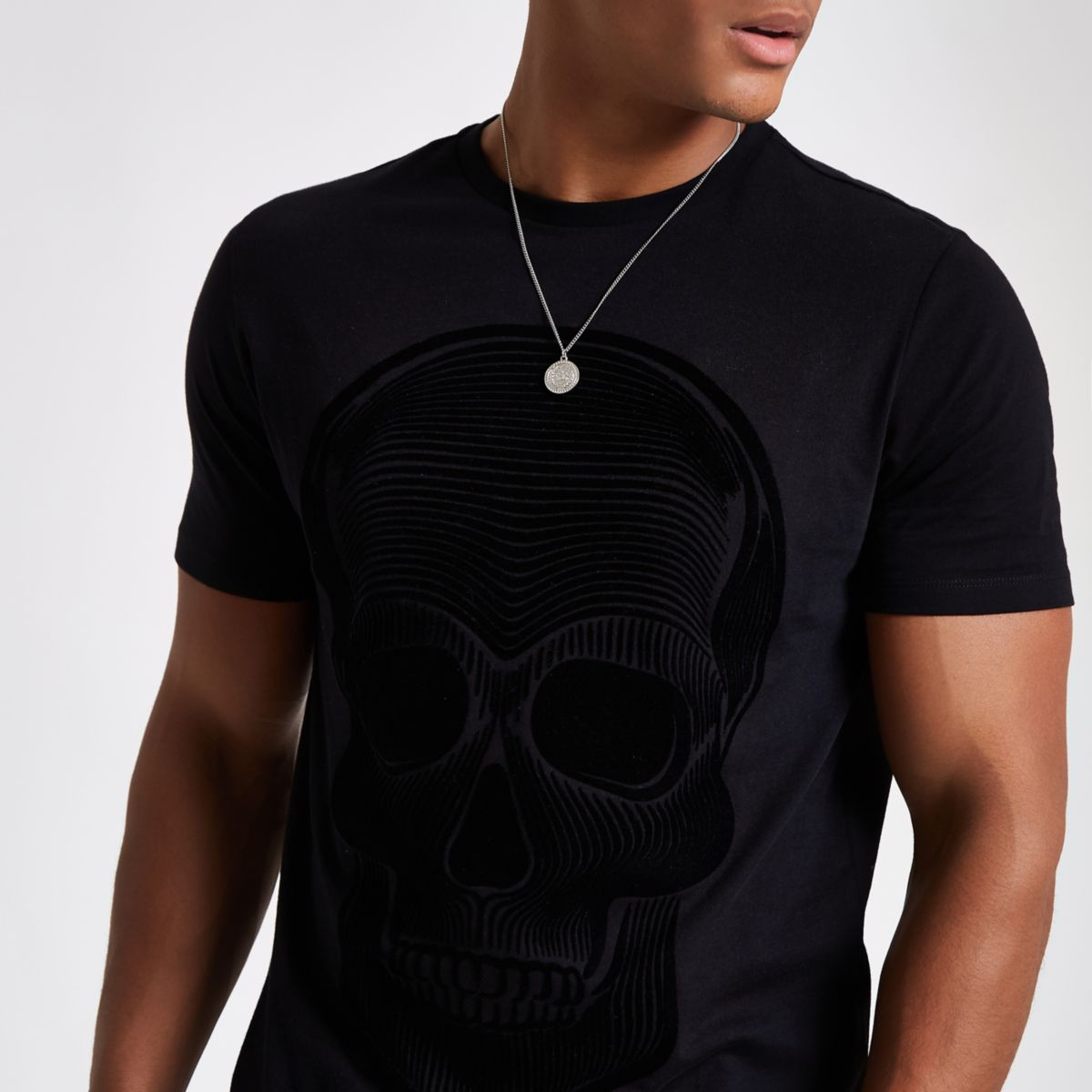 slim skull fit flock shirt print T Black p8w16p