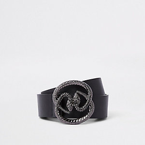 Black double snake buckle belt