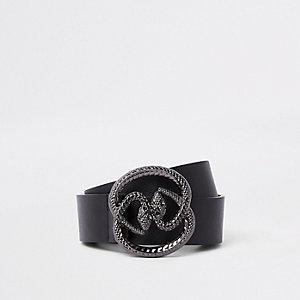 Ceinture noire à boucle avec deux serpents