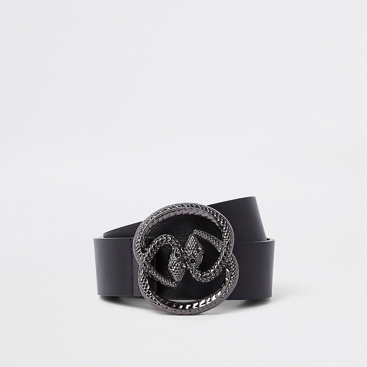 Black double snake buckle belt