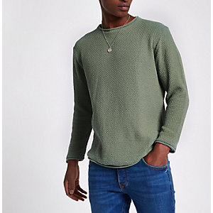 Pull slim en maille vert à manches longues