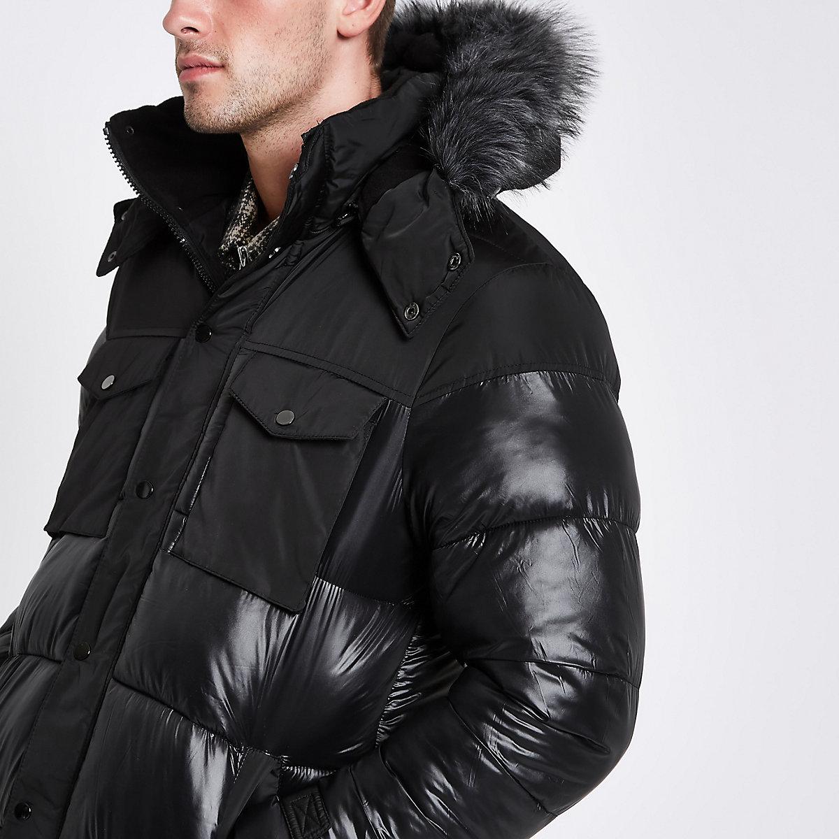 Black faux fur trim hooded long puffer jacket