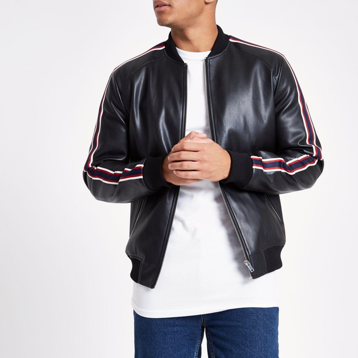 Black tipped bomber jacket