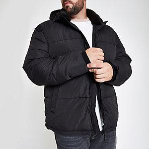 Big & Tall black hooded puffer jacket