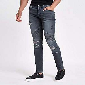 Dark blue Danny super skinny biker jeans