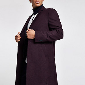 Burgundy wool blend overcoat