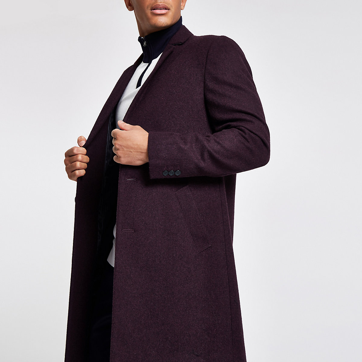 Burgundy wool blend overcoat