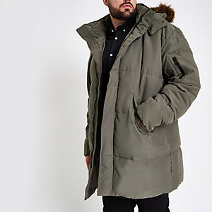 Big & Tall padded faux fur hood puffer jacket