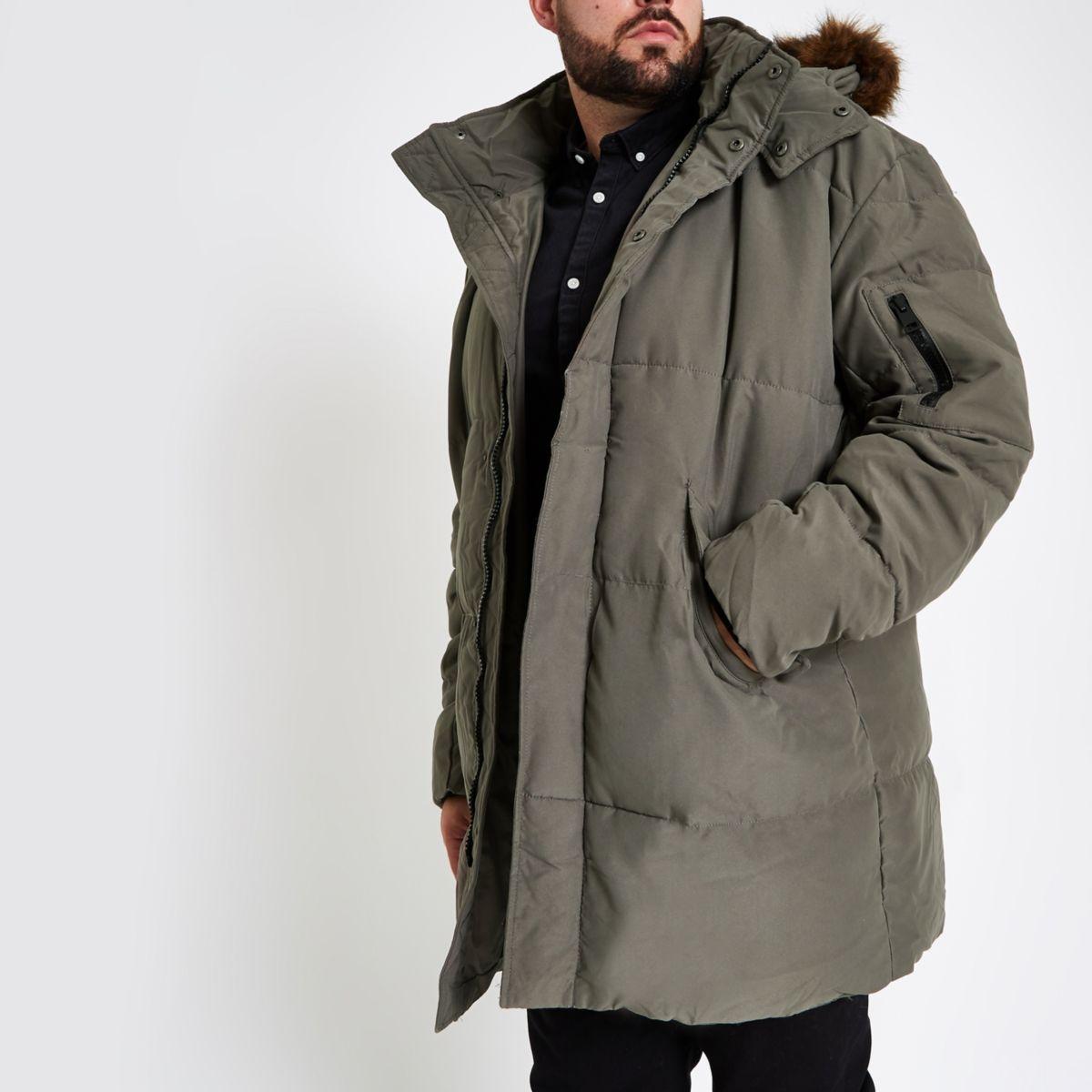 Big & Tall padded faux fur hood puffer jacket