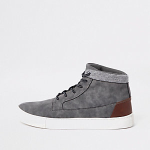 Grey wide fit high top trainers