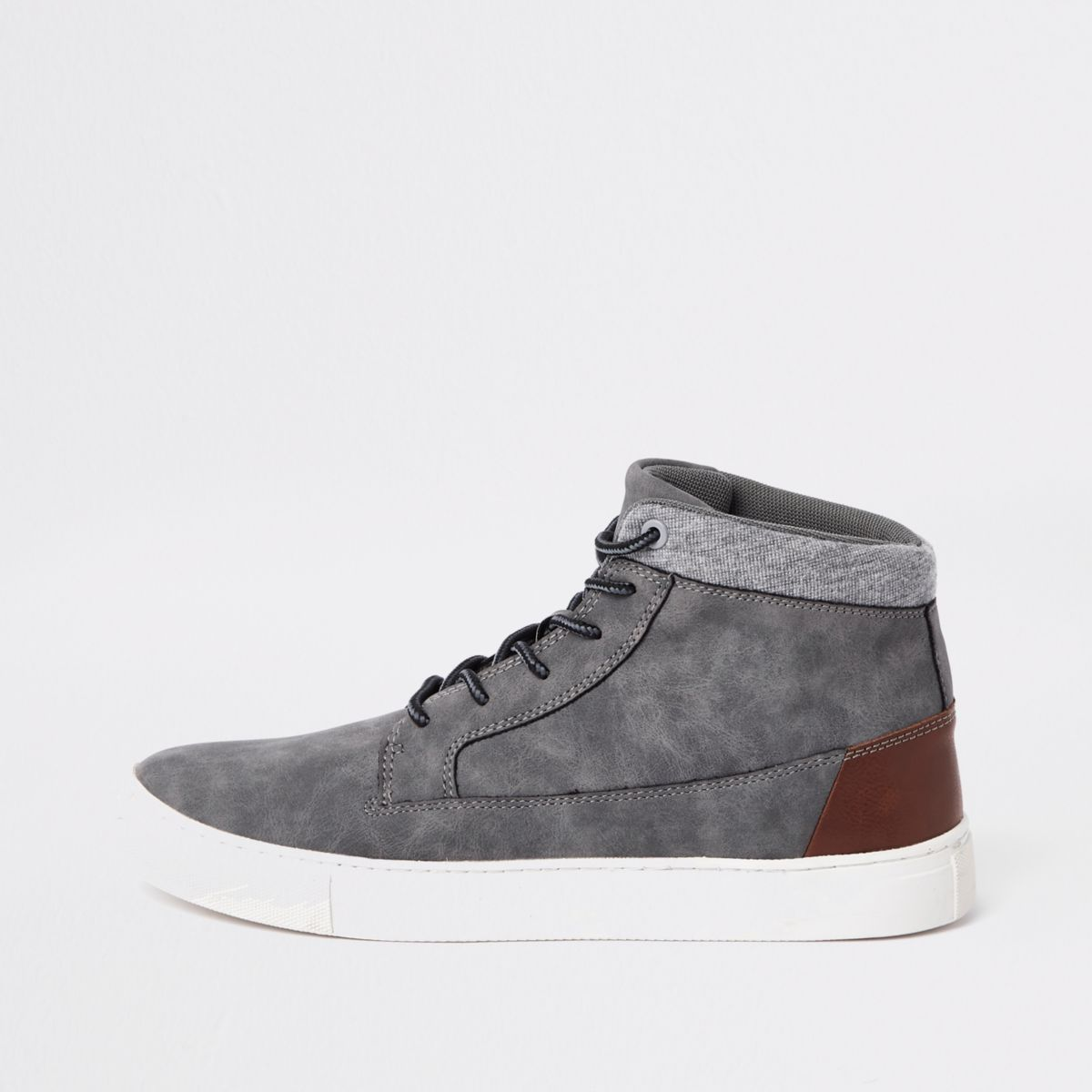 Grey wide fit high top sneakers