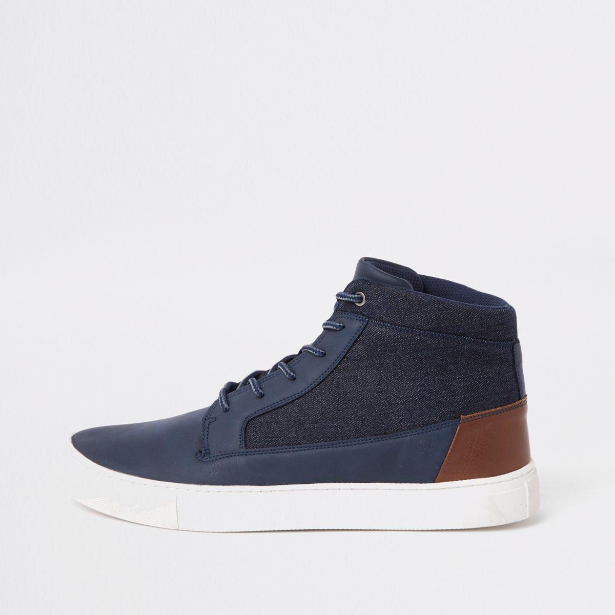 Navy wide fit high top sneakers