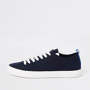 Navy textured sole lace up trainer