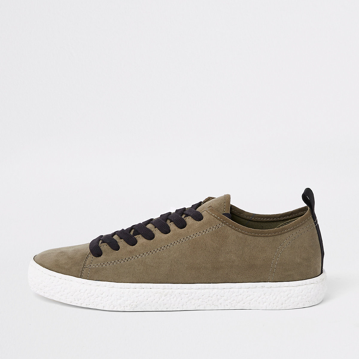 Dark green textured sole lace up trainer