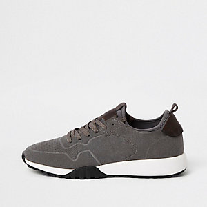 Grey suede runner trainers