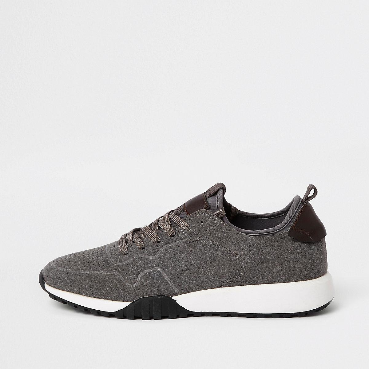 Grey suede runner trainers