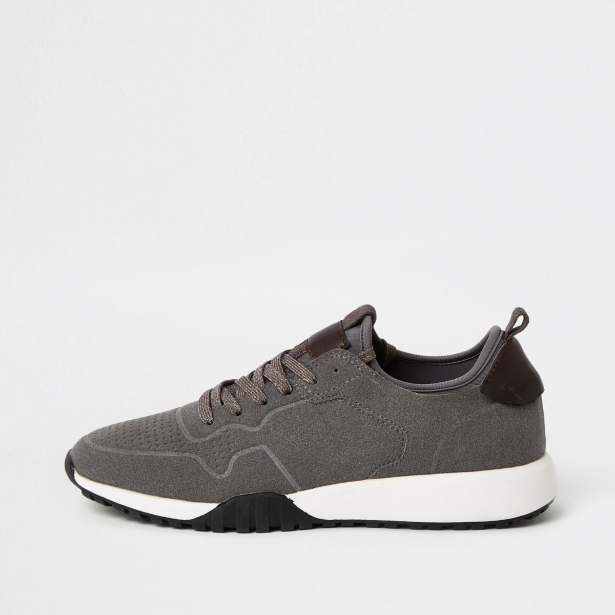 Grey suede runner sneakers