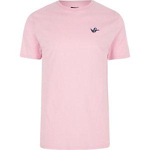 Roze slim-fit T-shirt met geborduurde zwanenprint