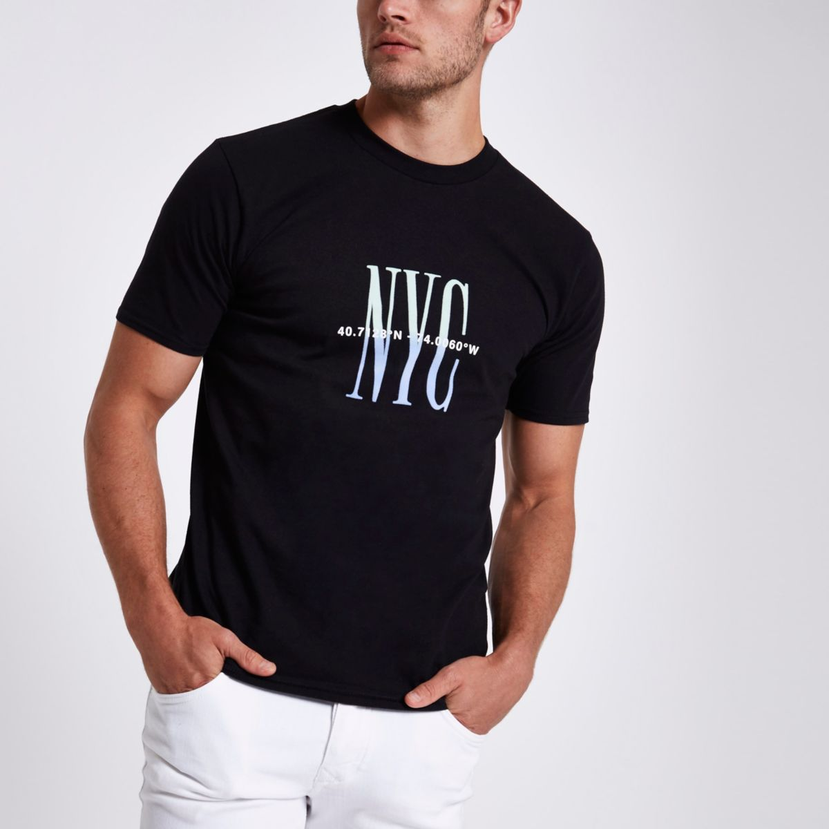 Black 'NYC' flock print T-shirt