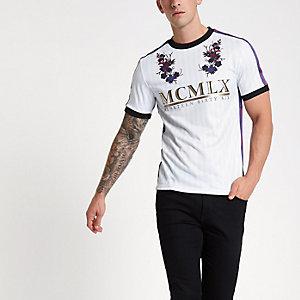 Wit overhemd in voetbalstijl met 'MCMLX' folieprint