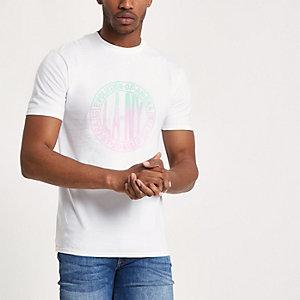 T-shirt blanc motif cercle en dégradé à manches courtes