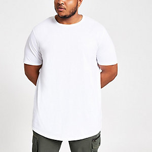 RI Big and Tall - Wit T-shirt met ronde zoom