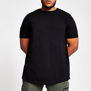 RI Big and Tall - Zwart T-shirt met ronde zoom