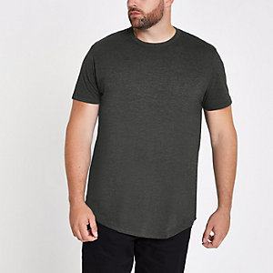 Big and Tall - Donkergrijs gemêleerd slim-fit T-shirt