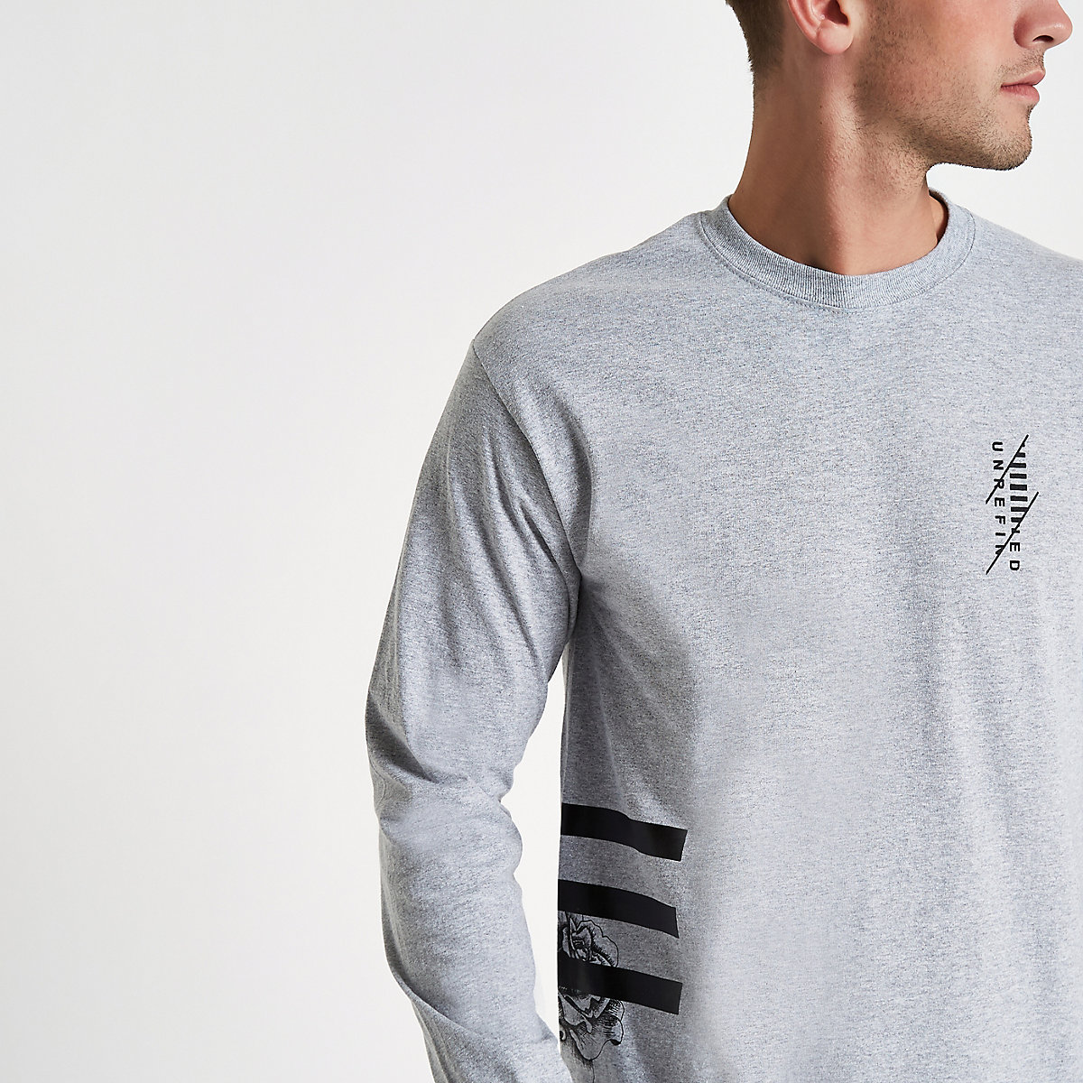 Grey side stripe long sleeve T-shirt