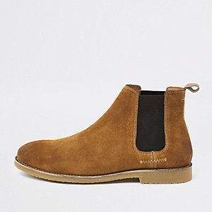 Bottines Chelsea casual en daim fauve
