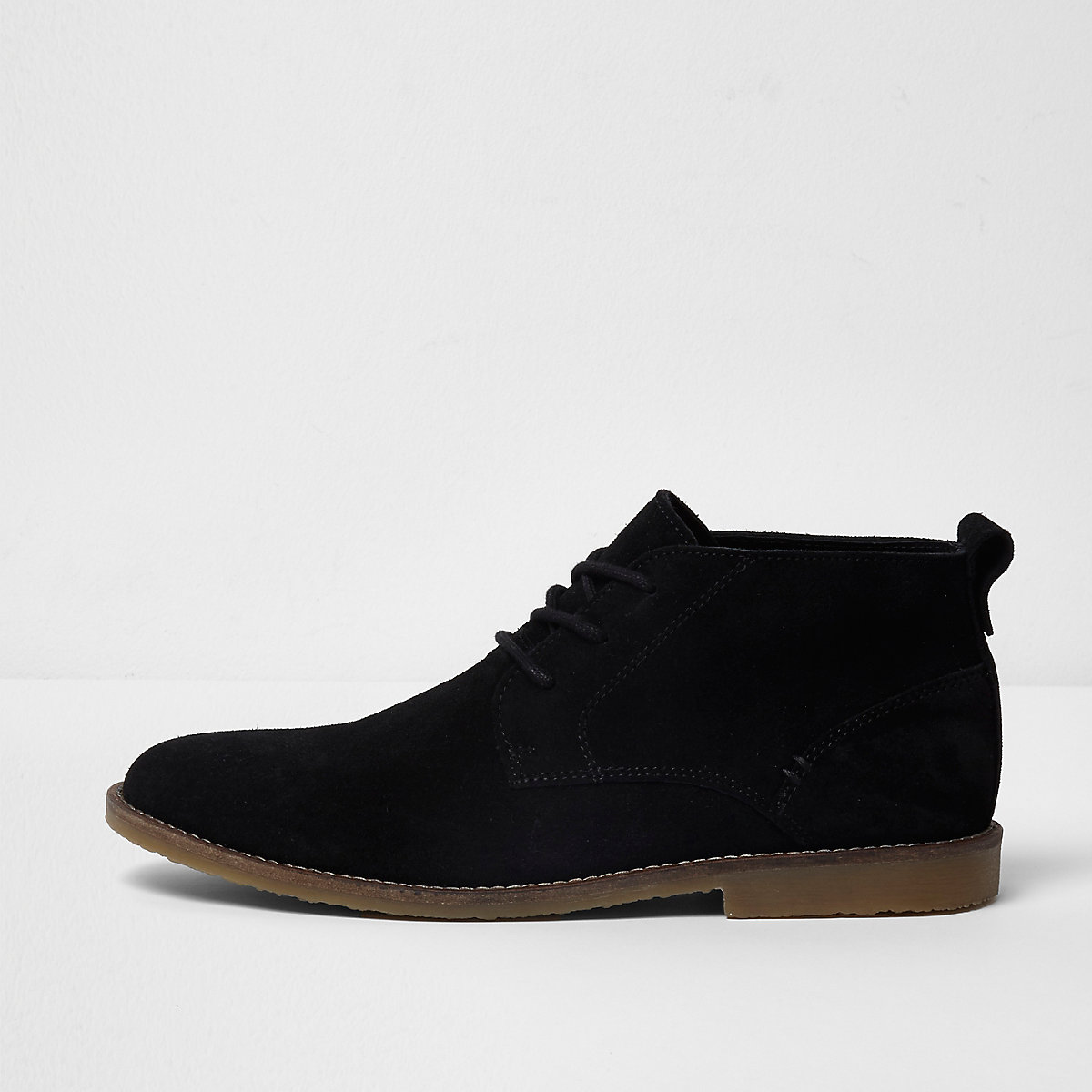 Black wide fit suede desert boots
