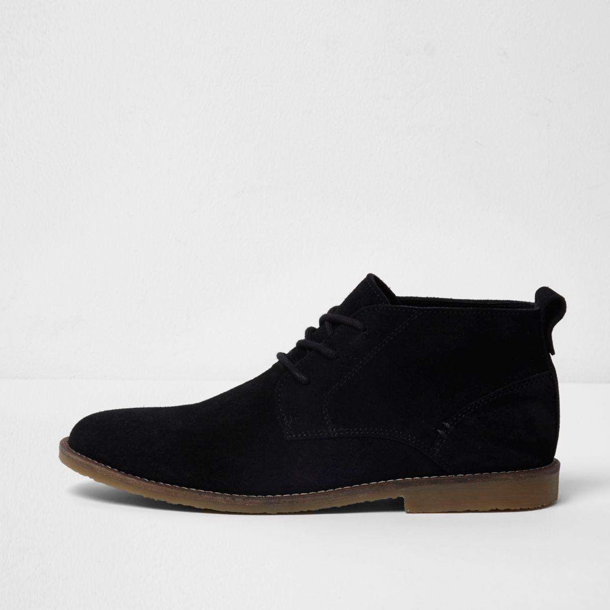 Black wide fit suede desert boots