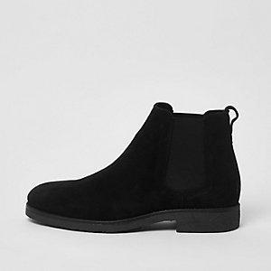 Schwarze Chelsea-Stiefel aus Wildleder, weite Passform