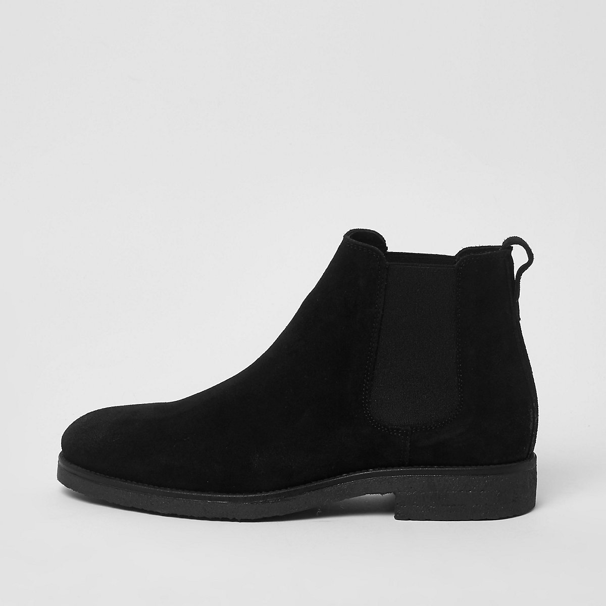 Black wide fit suede chelsea boots