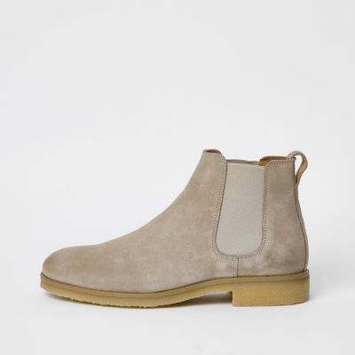 Stone Wide Fit Suede Chelsea Boots by River Island