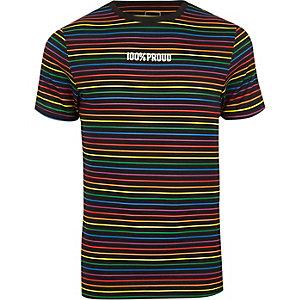 T-shirt ajusté noir à rayures Pride