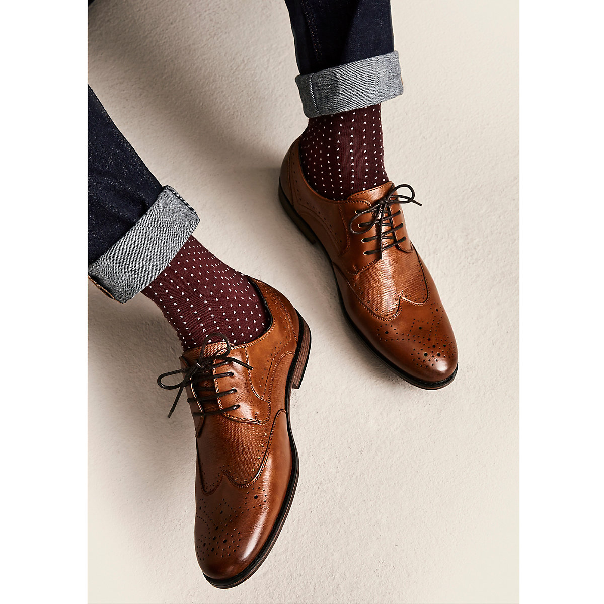 Tan wide fit lace-up brogues