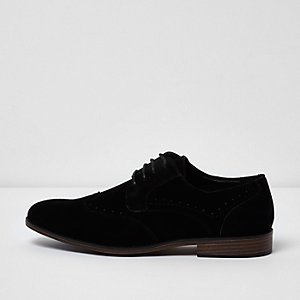 Black wide fit faux suede lace-up brogues
