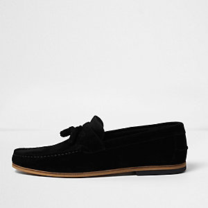 Black suede wide fit tassel loafers