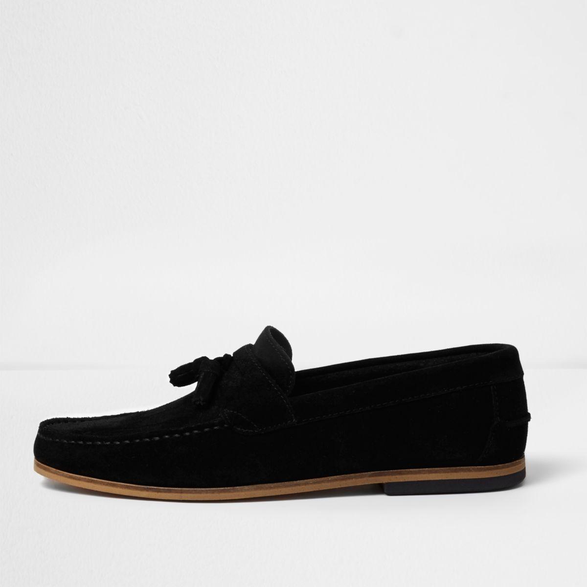 Black suede wide fit tassel loafers